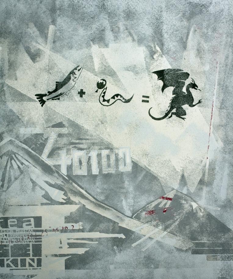 Seinämaalaus lohi+käärme