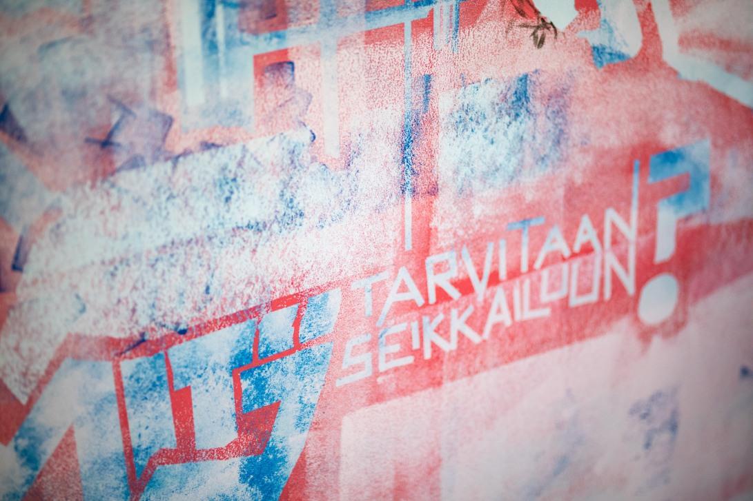 Seinämaalaus toimistoon Jyväskylässä. Yksityiskohta