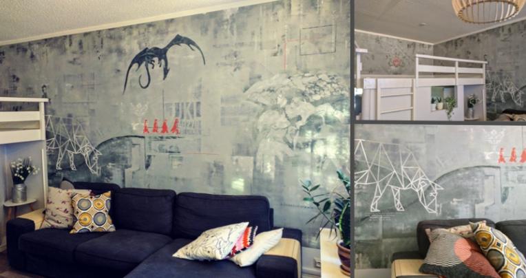Seinämaalaus_olohuoneessa_Palokka